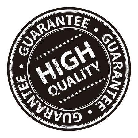 Product Information Material, Circle Black High Quality Guarantee Sticker, Rubber Stamp, Icon, Tag or Label Isolated on White Background