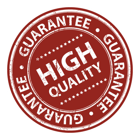 qc: Product Information Material, Circle Red High Quality Guarantee Sticker, Rubber Stamp, Icon, Tag or Label Isolated on White Background