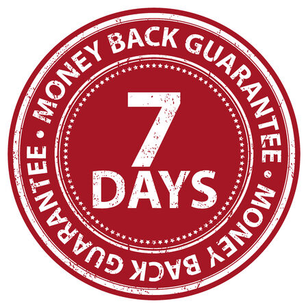 Red Grunge Style 7 Days Money Back Guarantee Icon, Badge, Label or Sticker for Product Warranty, Quality Assurance, CRM or Customer Satisfaction Concept Isolated on White Background