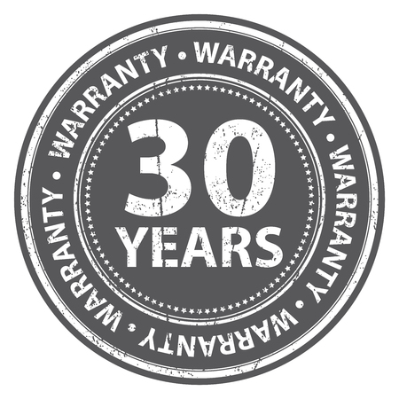 certify: Black Grunge Style 30 Years Warranty Icon, Badge, Label or Sticker for Product Warranty, Quality Control, Quality Assurance, Quality Management, CRM or Customer Satisfaction Concept Isolated on White