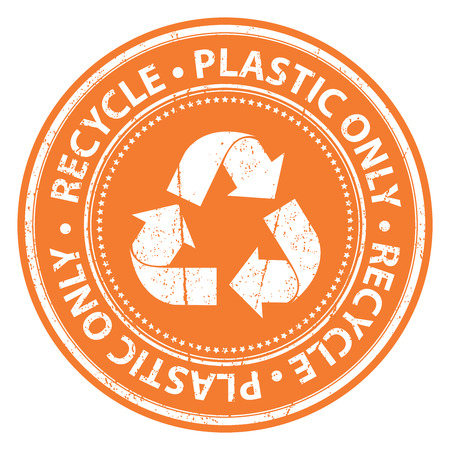 seperation: Orange Grunge Style Recycle Plastic Only Icon, Badge, Label or Sticker for Waste Segregation, Conservation or Recycle Concept Isolated on White Background Stock Photo