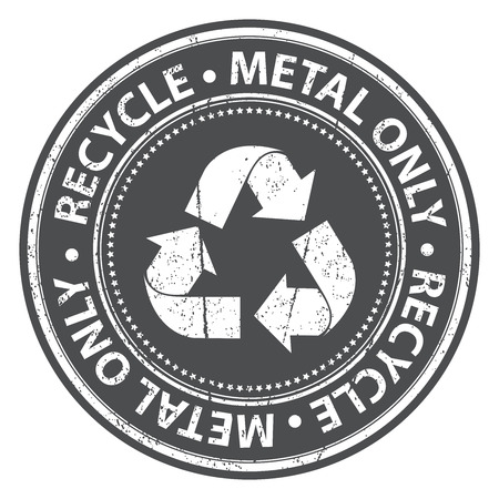 seperation: Black Grunge Style Recycle Metal Only Icon, Badge, Label or Sticker for Waste Segregation, Conservation or Recycle Concept Isolated on White Background