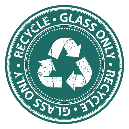 seperation: Green Grunge Style Recycle Glass Only Icon, Badge, Label or Sticker for Waste Segregation, Conservation or Recycle Concept Isolated on White Background