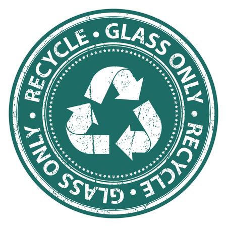 reciclar vidrio: Verde del estilo del Grunge de reciclaje de vidrio S�lo Icono, Insignia, Etiqueta o pegatina para residuos Segregaci�n, Conservaci�n o de reciclaje Concepto Aislado en el fondo blanco