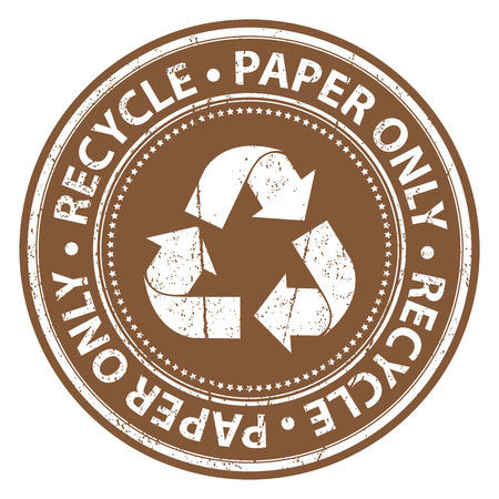 seperation: Brown Grunge Style Recycle Paper Only Icon, Badge, Label or Sticker for Waste Segregation, Conservation or Recycle Concept Isolated on White Background