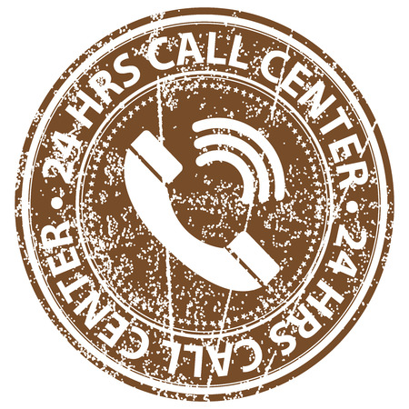 hrs: Brown Grunge Style 24 HRS Call Center Icon, Badge, Label or Sticker for Customer Service, Support, Call Center or CRM Concept Isolated on White Background