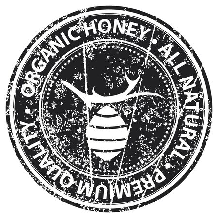 product healthy: Black Grunge Style Organic Honey, All Natural and Premium Quality Icon, Badge, Label or Sticker for Healthy Product or Product Information Concept Isolated on White Background Archivio Fotografico