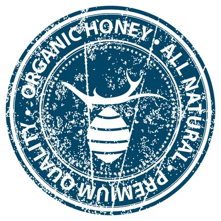 product healthy: Blue Grunge Style Organic Honey, All Natural and Premium Quality Icon, Badge, Label or Sticker for Healthy Product or Product Information Concept Isolated on White Background