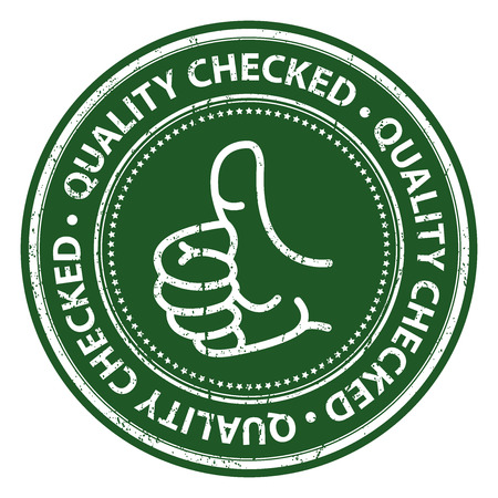 satisfy: Green Grunge Style Quality Checked Icon, Badge, Label or Sticker for Business, Quality Management Systems, Quality Assurance and Quality Control Concept Isolated on White Background Stock Photo