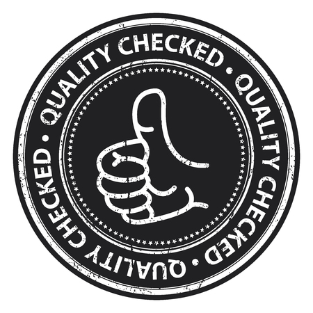qc: Black Grunge Style Quality Checked Icon, Badge, Label or Sticker for Business, Quality Management Systems, Quality Assurance and Quality Control Concept Isolated on White Background
