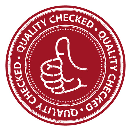 Red Grunge Style Quality Checked Icon, Badge, Label or Sticker for Business, Quality Management Systems, Quality Assurance and Quality Control Concept Isolated on White Background photo
