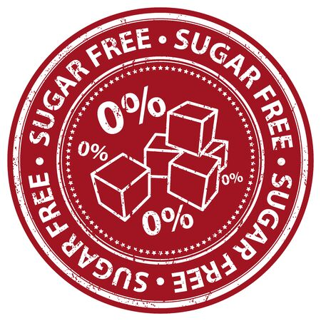 Red Grunge Style Sugar Free Icon, Badge, Label or Sticker for Food and Drink, Healthcare or Wellness Concept Isolated on White Background Stock Photo