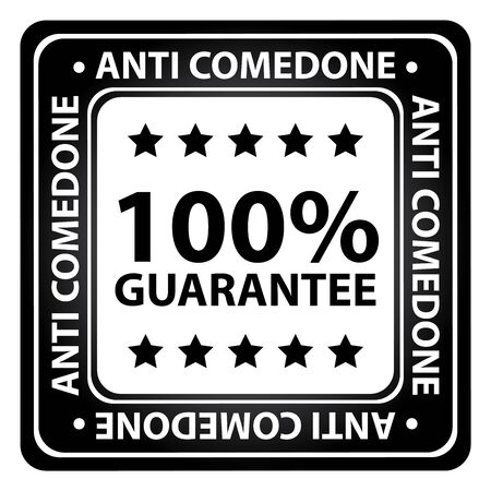 Black Square Glossy Style Alcohol Free, Antimicrobial, No Hormones and Anti Comedone 100 Percent Guarantee Icon, Label or Sticker Isolated on White Background photo