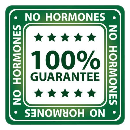 hormonas: Plaza Verde Estilo brillante alcohol, antimicrobianos, Sin Hormonas y anti Comedone 100 Garant�a Porcentaje de iconos, etiqueta o adhesivo aislado sobre fondo blanco Foto de archivo
