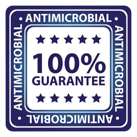 microbial: Blue Square Glossy Style Alcohol Free, Antimicrobial, No Hormones and Anti Comedone 100 Percent Guarantee Icon, Label or Sticker Isolated on White Background Stock Photo