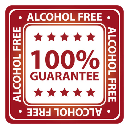 germ free: Red Square Glossy Style Alcohol Free, Antimicrobial, No Hormones and Anti Comedone 100 Percent Guarantee Icon, Label or Sticker Isolated on White Background Stock Photo