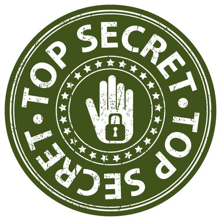 confidentiality: Green Grungy Style Top Secret Icon, Label or Sticker Isolated on White Background Stock Photo
