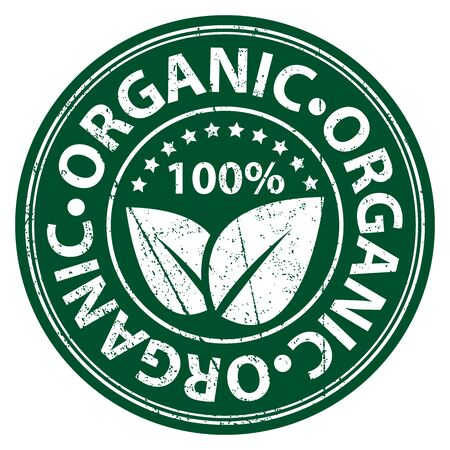 organic: Product Information Material or Ingredient, Circle Green 100 Percent Organic Sticker, Rubber Stamp, Icon, Tag or Label Isolated on White Background