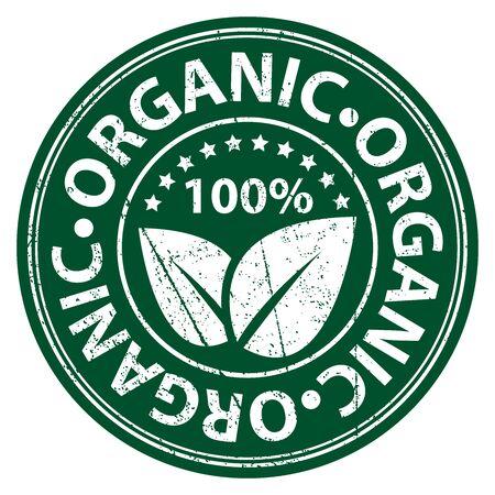Productinformatie Materiaal of ingrediënt, Cirkel Green 100 procent biologisch Sticker, Rubber Stamp, Icoon, tag of label geïsoleerd op witte achtergrond