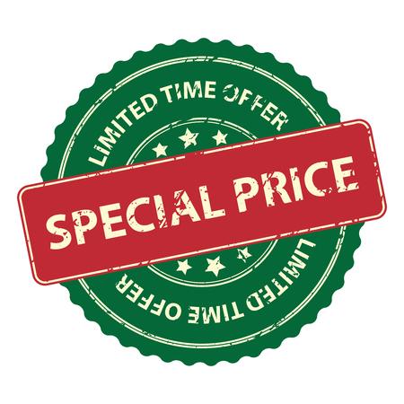 제한 시간 제공에 대 한 녹색 홍보 또는 마케팅 자료, 스티커, 도장, 아이콘 또는 레이블 특별 가격 이벤트 흰색 배경에 고립 스톡 콘텐츠