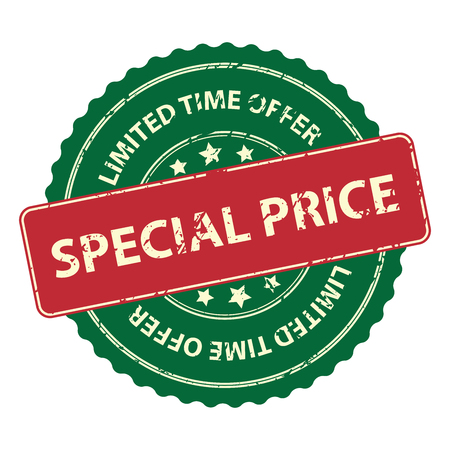 pricetag: Green Promotional or Marketing Material, Sticker, Rubber Stamp, Icon or Label for Limited Time Offer Special Price Event Isolated on White Background