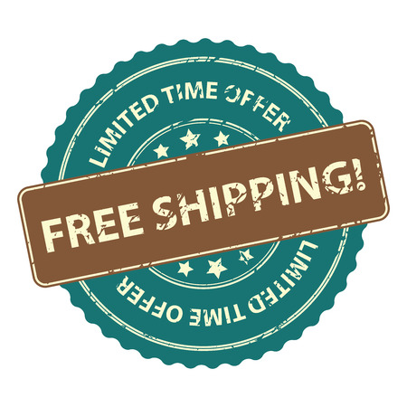 free shipping: Blue Promotional or Marketing Material, Sticker, Rubber Stamp, Icon or Label for Limited Time Offer Free Shipping Event Isolated on White Background