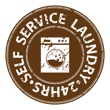 rinse: Brown Grungy Circle Self Service Laundry 24HRS Icon, Sticker or Label For Laundry Business Isolated on White Background