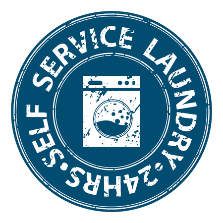 hrs: Blue Grungy Circle Self Service Laundry 24HRS Icon, Sticker or Label For Laundry Business Isolated on White Background