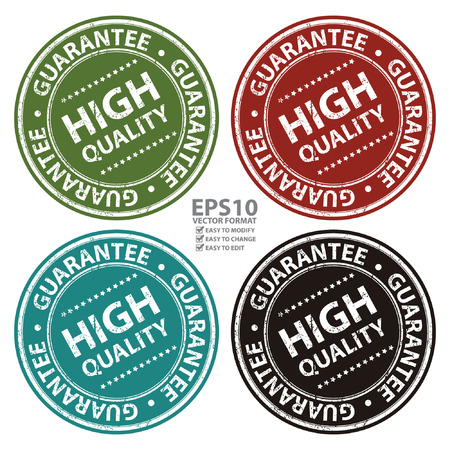 qc: Vector : Product Information Material, Circle High Quality Guarantee Sticker, Rubber Stamp, Icon, Tag or Label Isolated on White Background