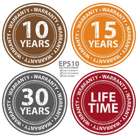 management qualit�: Vecteur: Grunge style color� 10 ans - Garantie � vie Ic�ne, Badge, l'�tiquette ou autocollant pour garantie des produits, contr�le de la qualit�, l'assurance qualit�, gestion de la qualit�, CRM ou Customer Satisfaction