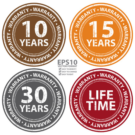 lifetime: Vector : Colorful Grunge Style 10 Years - Lifetime Warranty Icon, Badge, Label or Sticker for Product Warranty, Quality Control, Quality Assurance, Quality Management, CRM or Customer Satisfaction