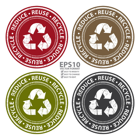 Vector : Colorful Grunge Style Reduce, Reuse and Recycle Icon, Badge, Label or Sticker for Save The Earth, Conservation or Recycle Concept Isolated on White Background Ilustração