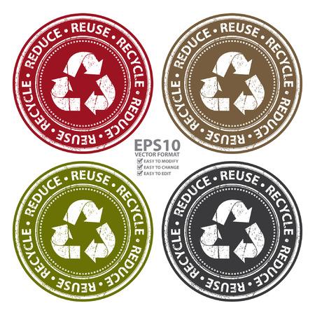 papelera de reciclaje: Vector: colorido del estilo del Grunge Reducir, Reutilizar y Reciclar icono, insignia, etiqueta o adhesivo para Save The Earth, Conservaci�n o de reciclaje Concepto Aislado en el fondo blanco