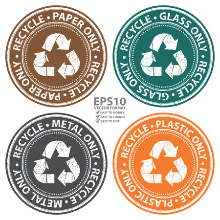 seperation: Vector : Colorful Grunge Style Recycle Paper, Glass, Metal and Plastic Only Icon, Badge, Label or Sticker for Waste Segregation, Conservation or Recycle Concept Isolated on White Background