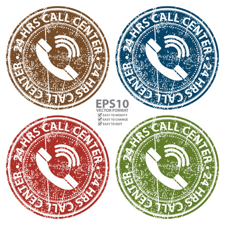 hrs: Vector : Colorful Grunge Style 24 HRS Call Center Icon, Badge, Label or Sticker for Customer Service, Support, Call Center or CRM Concept Isolated on White Background