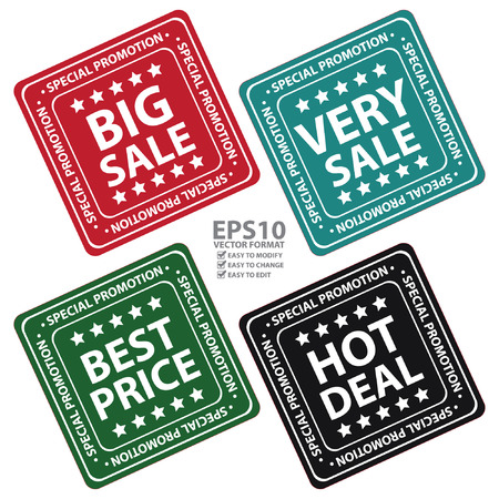 big deal: Square Big sale, Very Sale, Best Price and Hot Deal Icon, Label or Sticker for Special Promotion Isolated on White Background Illustration