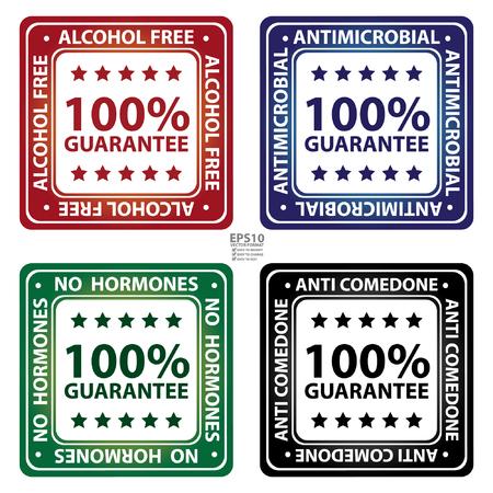 Estilo brillante plaza Libre de Alcohol, antimicrobiana, Sin Hormonas y Anti Comedone 100 Garantía Porcentaje de iconos, etiqueta o adhesivo aislado sobre fondo blanco Foto de archivo - 36498256