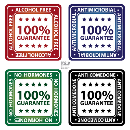 microbial: Square Glossy Style Alcohol Free, Antimicrobial, No Hormones and Anti Comedone 100 Percent Guarantee Icon, Label or Sticker Isolated on White Background Illustration