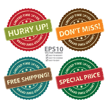 free offer: Vector : Promotional or Marketing Material, Sticker, Rubber Stamp, Icon or Label for Limited Time Offer Hurry Up, Dont Miss, Free Shipping and Special Price Event Isolated on White Background