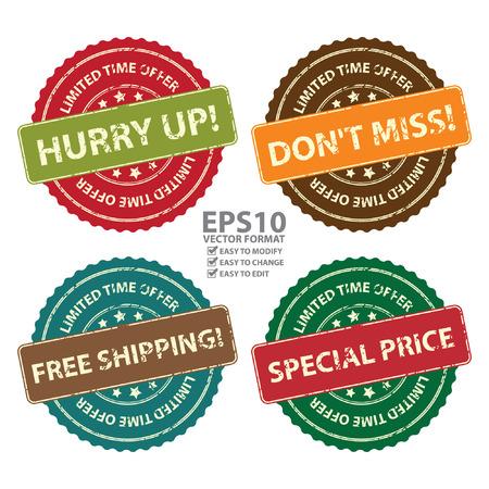 Vector: Promotional Marketing o materiale, Sticker, Timbro, sull'icona o sull'etichetta Offerta limitata Hurry Up, non perdetevi, spedizione gratuita e Prezzo speciale evento isolato su sfondo bianco
