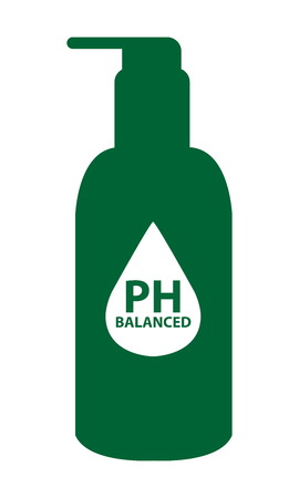 hypo: Green PH Balanced Lotion Bottle Icon or Label Isolated on White Background