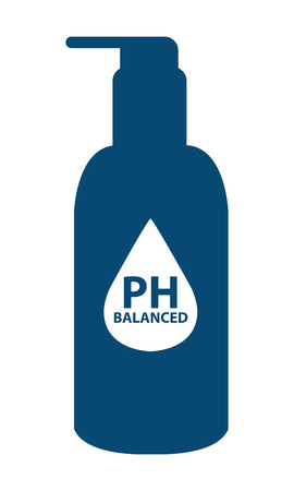ph: Blue PH Balanced Lotion Bottle Icon or Label Isolated on White Background