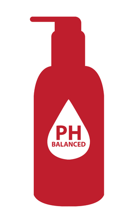 hypo: Red PH Balanced Lotion Bottle Icon or Label Isolated on White Background