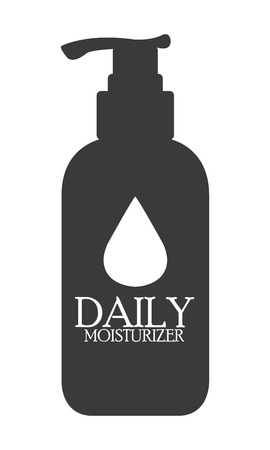 anti age: Black Daily Moisturizer Lotion Bottle Icon or Label Isolated on White Background