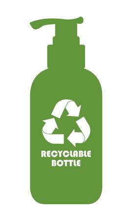 reciclable: Icono verde botella reciclable, sesi�n o etiqueta de aislados en fondo blanco
