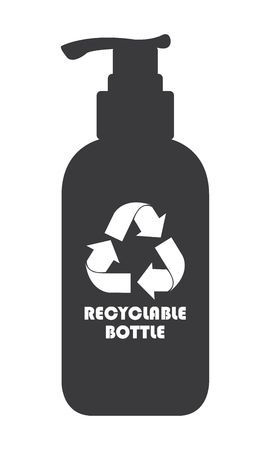 reprocess: Black Recyclable Bottle Icon, Sign or Label Isolated on White Background Stock Photo