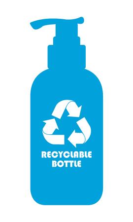 mundo contaminado: Blue Icon botella reciclable, señal o etiqueta de aislados en fondo blanco