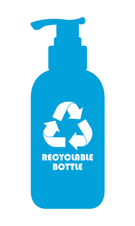 reprocess: Blue Recyclable Bottle Icon, Sign or Label Isolated on White Background