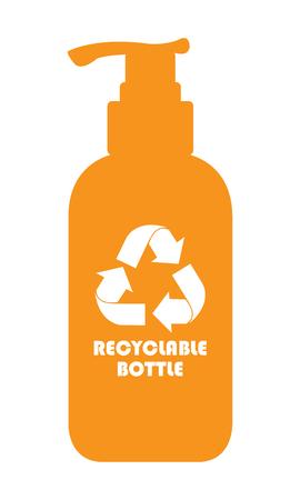 mundo contaminado: Naranja reciclable Botella icono, muestra o etiqueta de aislados en fondo blanco