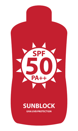 sunblock: Red SPF 50 Pa++ Sunblock UVAUVB Protection Container Icon or Label Isolated on White Background